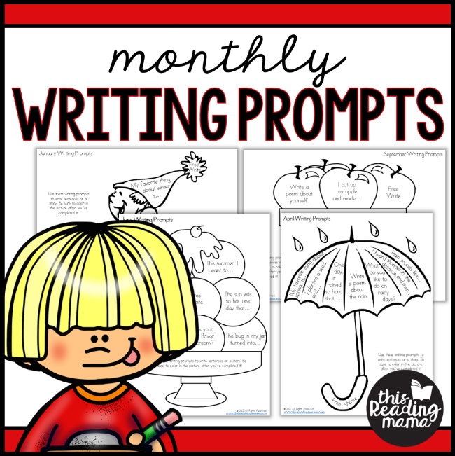 Monthly Writing Prompts for Each Month - Write and Color - This Reading Mama