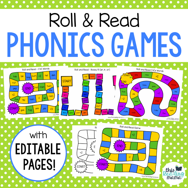 Roll and Read Phonics Games - This Reading Mama