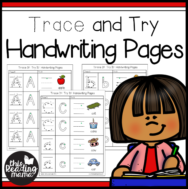 Trace and Try Handwriting Pages - This Reading Mama