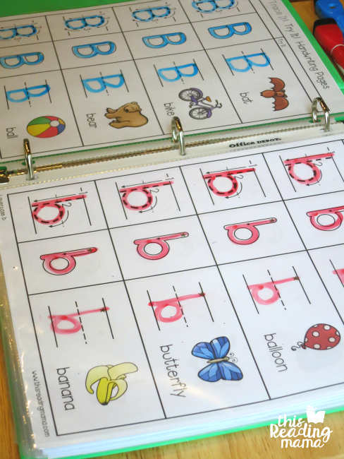 Trace and Try Letter Handwriting Pages in plastic sleeve protectors