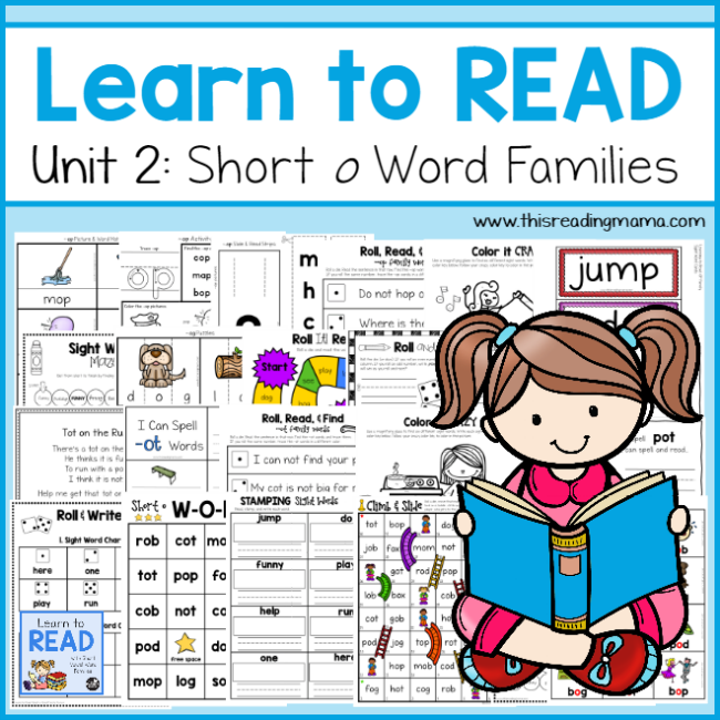 Learn to Read Unit 2 Short o Word Families - This Reading Mama