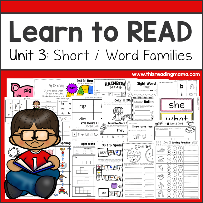 Learn to Read Unit 3 Short i Word Families - This Reading Mama