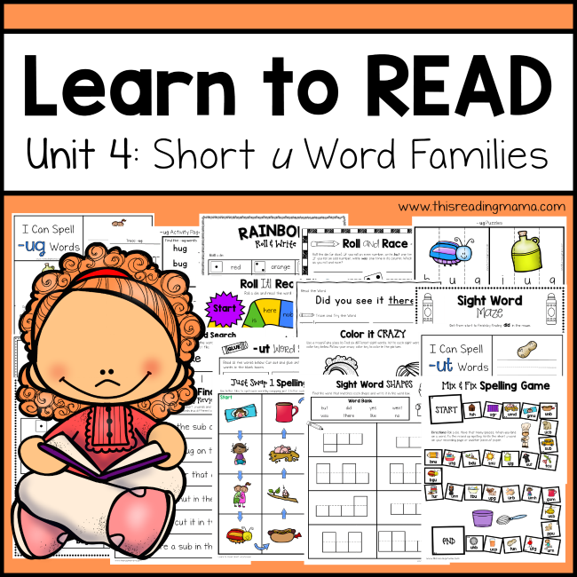 Learn to Read Unit 4 -Short u Word Families - This Reading Mama