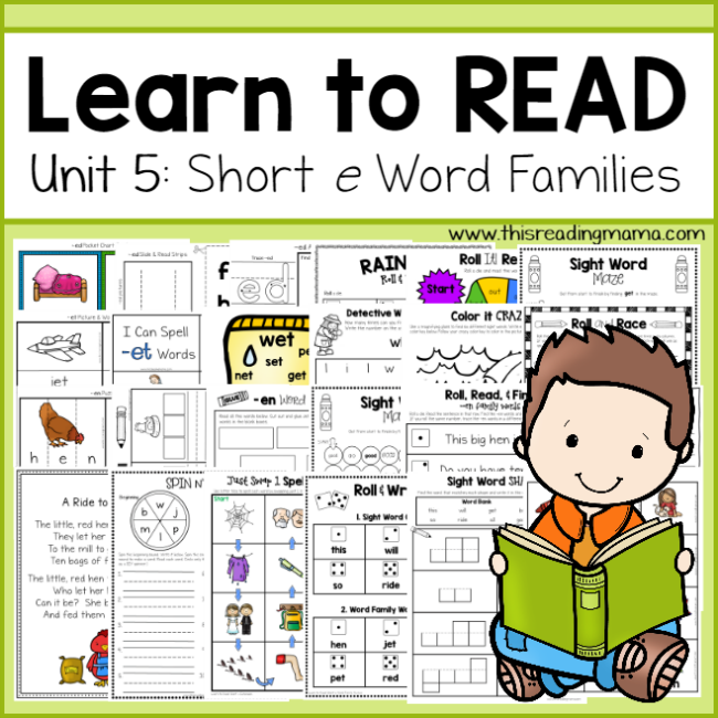 Learn to Read Unit 5 - Short e Word Families - This Reading Mama