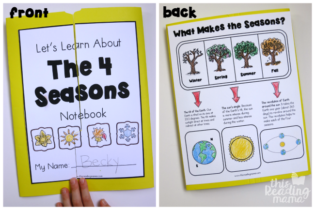 front and back of 4 seasons lapbook/notebook