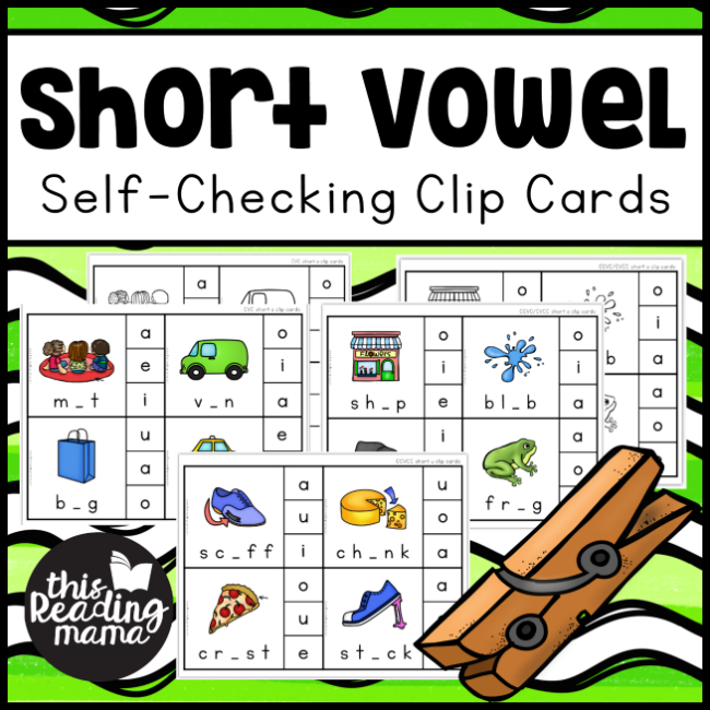 Self-Checking Short Vowel Clip Cards - This Reading Mama
