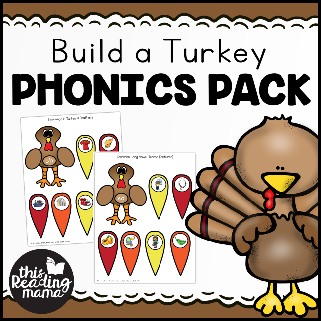 Build-a-Turkey Phonics Pack from This Reading Mama