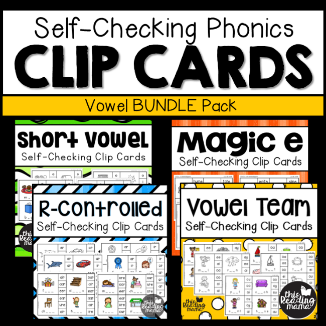 Self-Checking Vowel Clip Cards BUNDLE - This Reading Mama