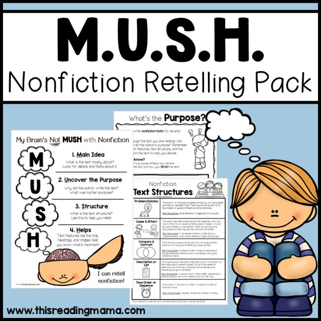 MUSH Nonfiction Retelling Pack - This Reading Mama