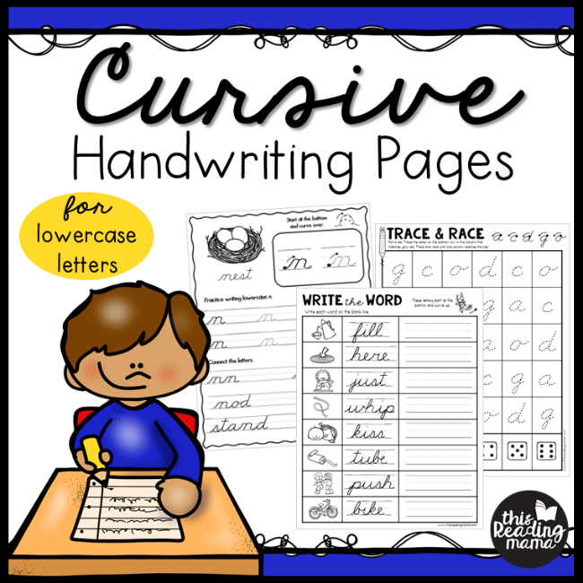 Lowercase Cursive Handwriting Pages - This Reading Mama