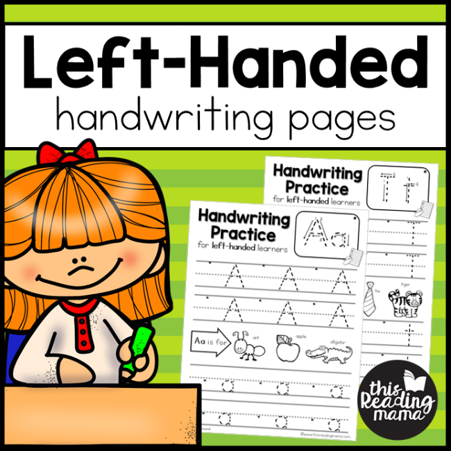 Left-Handed Handwriting Pages Pack - This Reading Mama