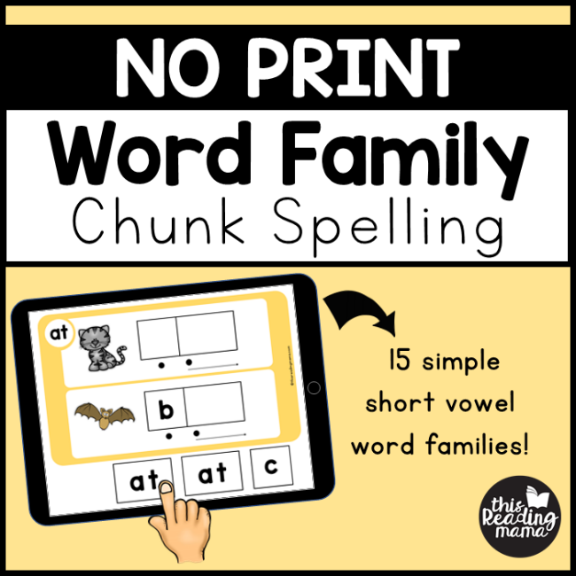 NO PRINT Word Family Chunk Spelling - a Google Resource
