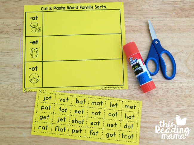 cut and paste picture and word sort