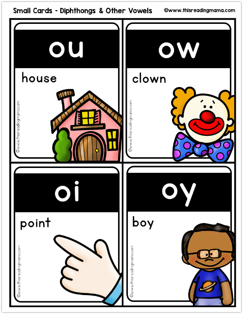 small phonics cards -diphthongs from This Reading Mama