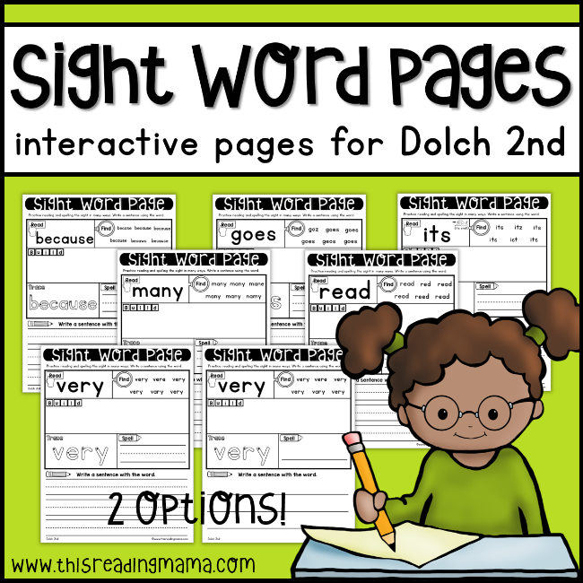 Dolch Second Grade Sight Word Pages - This Reading Mama