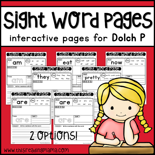 Dolch P Sight Word Pages - This Reading Mama