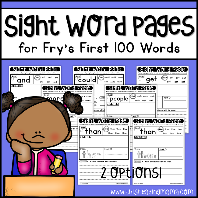 Fry Sight Word Pages - First 100 - This Reading Mama