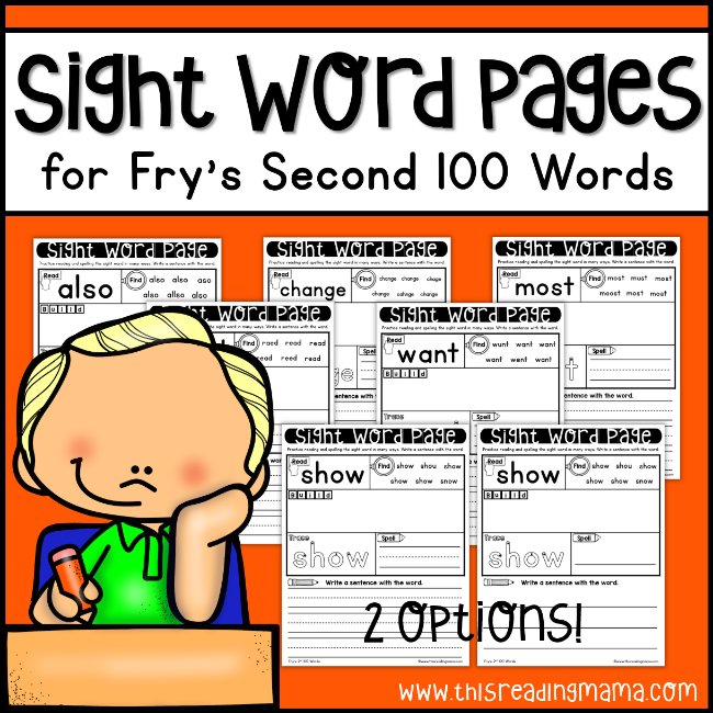 Fry Sight Word Pages - Second 100 - This Reading Mama