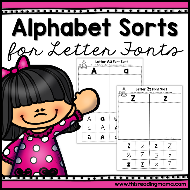 No Prep Alphabet Sorts for Letter Fonts - This Reading Mama