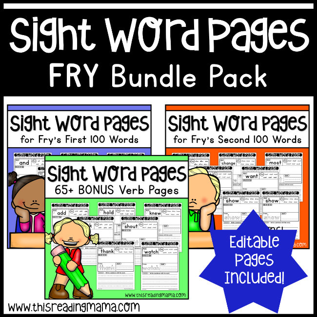 Sight Word Pages - Fry Bundle - This Reading Mama