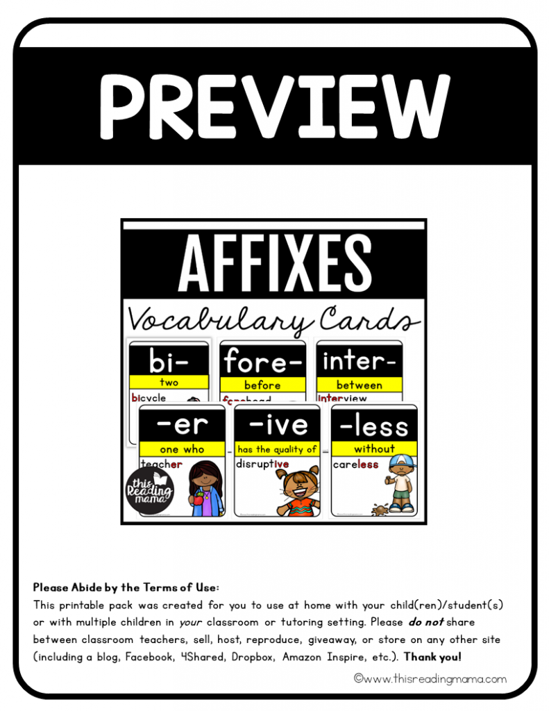 Affixes Vocabulary Cards Preview - This Reading Mama