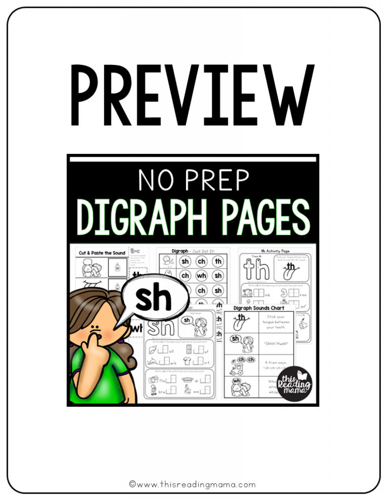 No Prep Digraph Pages Preview - This Reading Mama