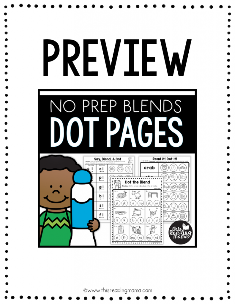 No Prep Blends Dot Pages Preview - This Reading Mama