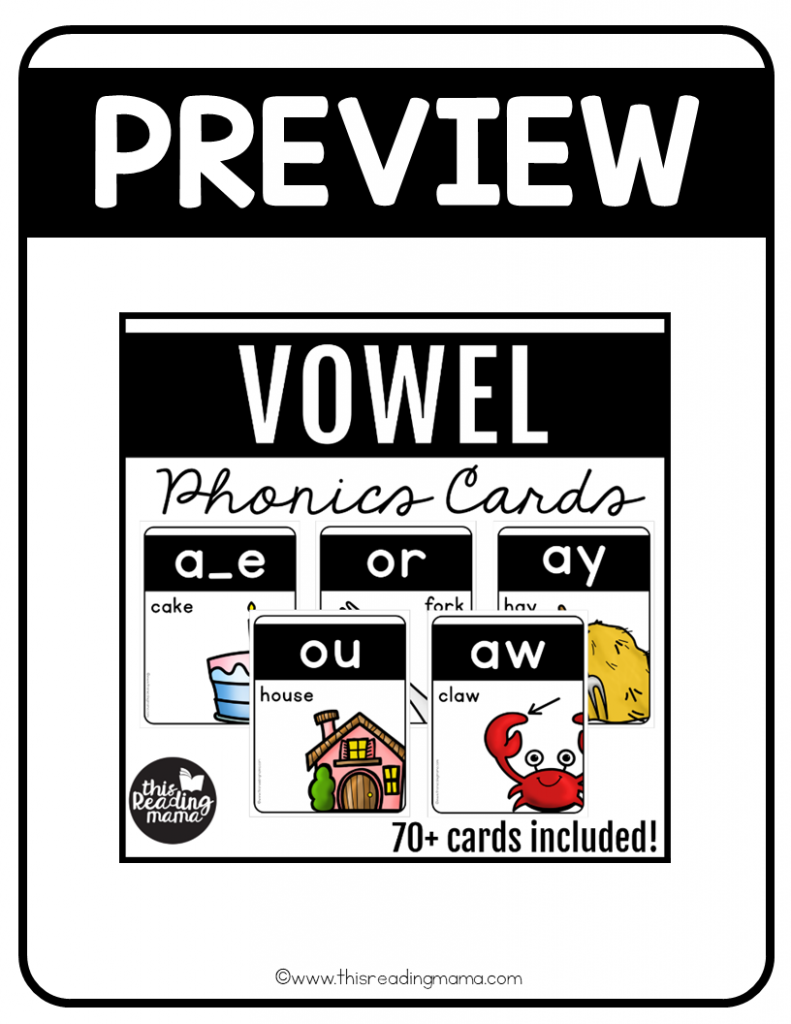 Vowel Phonics Cards - Preview - This Reading Mama