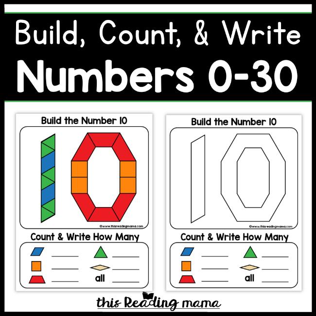 Number Pattern Block Mats (0-30)