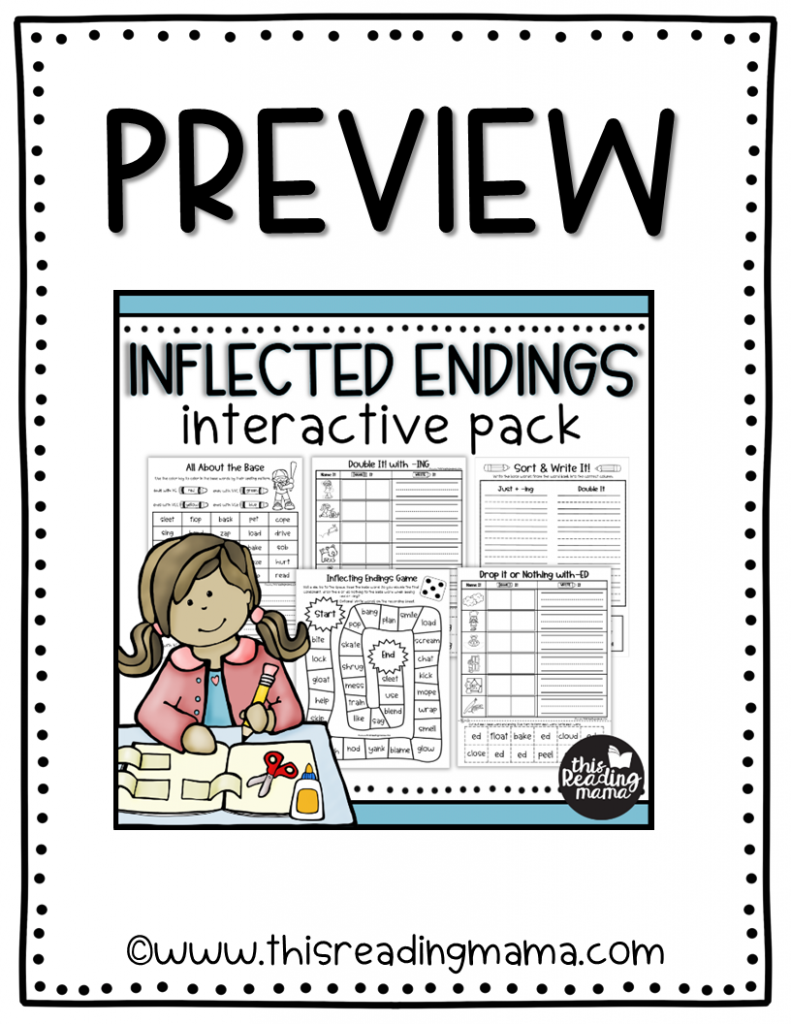 Interactive Inflected Endings Pack Preview - This Reading Mama
