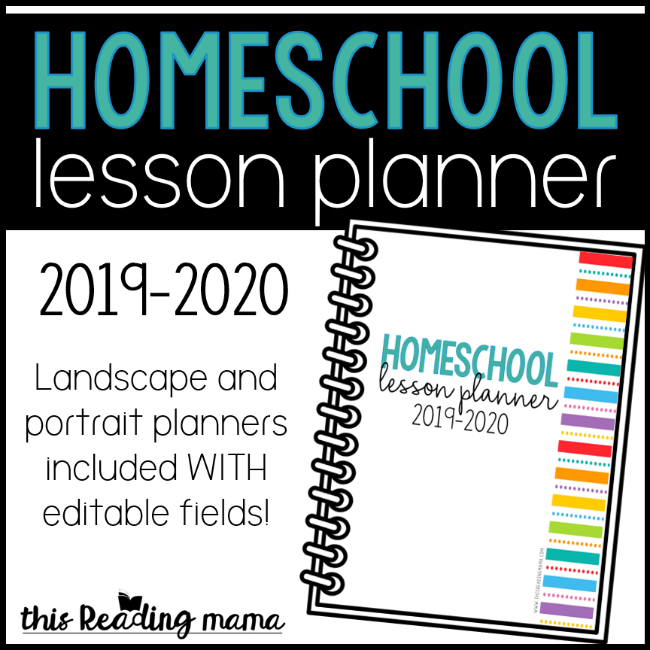 graphic relating to Printable Teacher Planner known as Printable Homeschool Lesson Planner 2019-2020