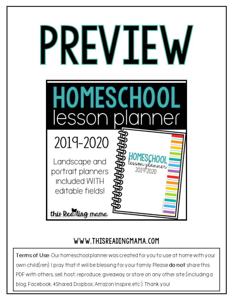 Preview of Printable Homeschool Lesson Planner from This Reading Mama