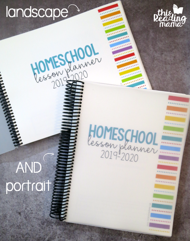 our homeschool lesson planner comes in landscape and portrait orientations
