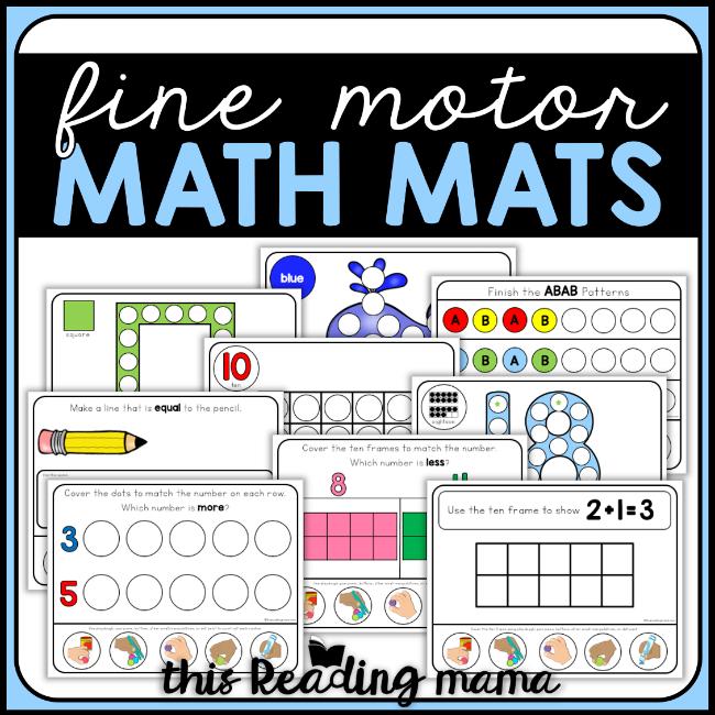 Fine Motor Math Mats - This Reading Mama