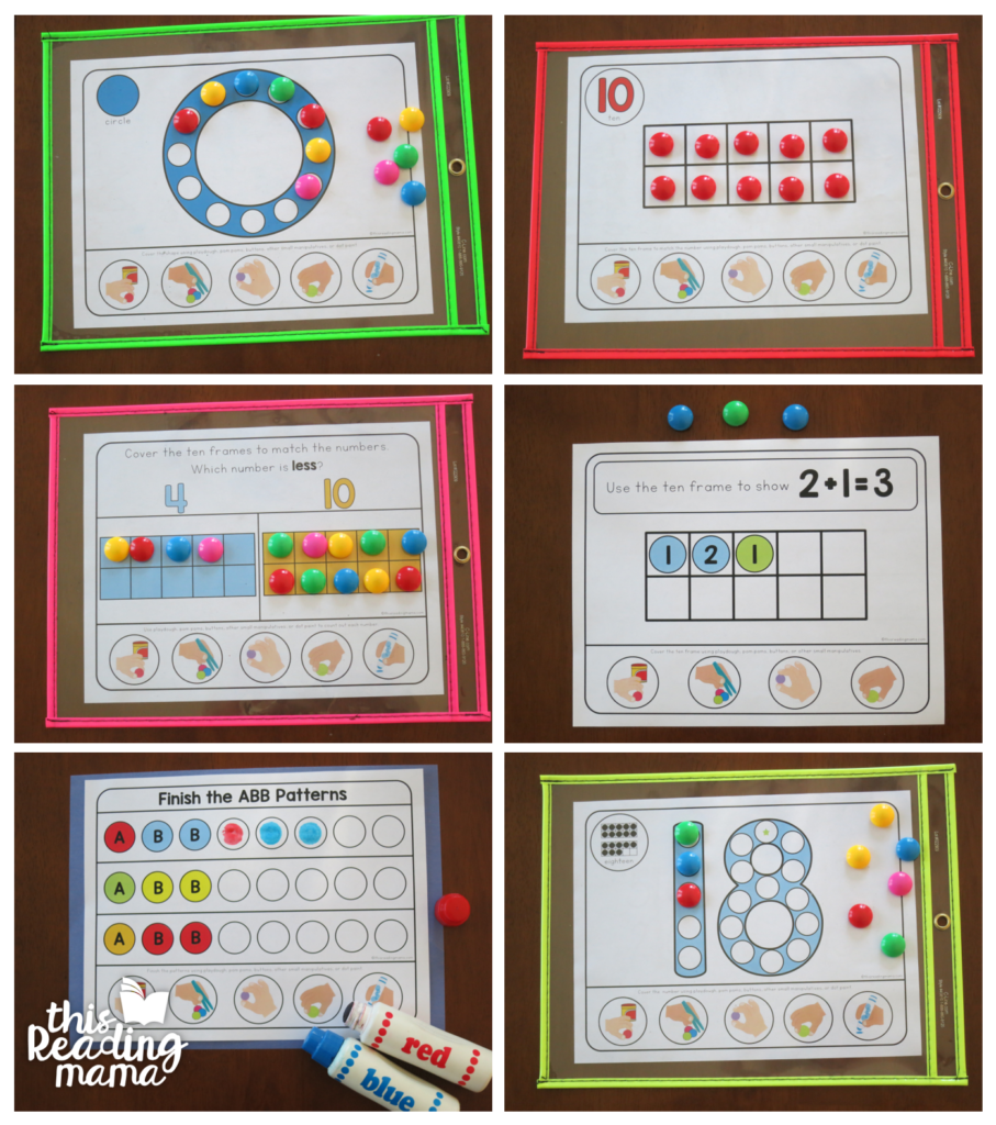 Fine Motor Math Mats in action - This Reading Mama