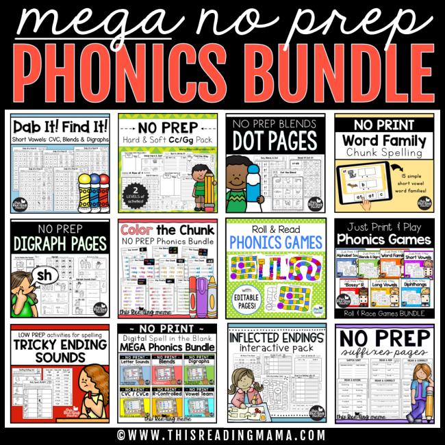 MEGA NO PREP Phonics Bundle - This Reading Mama