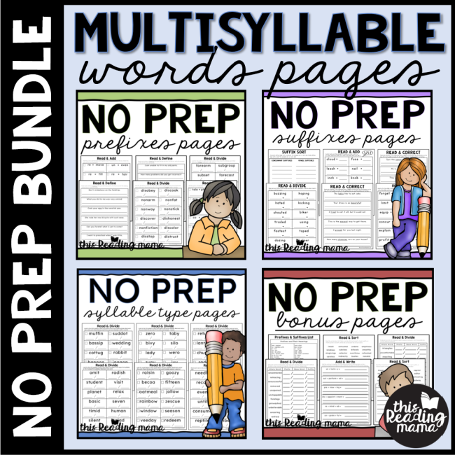 NO PREP Multisyllable Words Bundle Pack - This Reading Mama