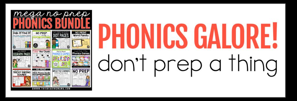 MEGA NO PREP Phonics Bundle - don't prep a thing!