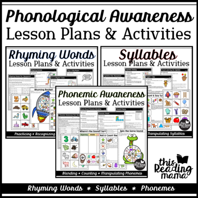 Phonological Awareness Lesson Plans BUNDLE with Printables - This Reading Mama